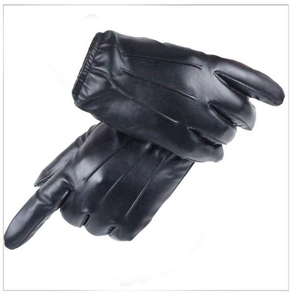 Hot Men's Luxurious PU Leather Winter Driving Warm Gloves Cashmere Tactical Gloves Luxury Design Guantes Full Finger Mittens