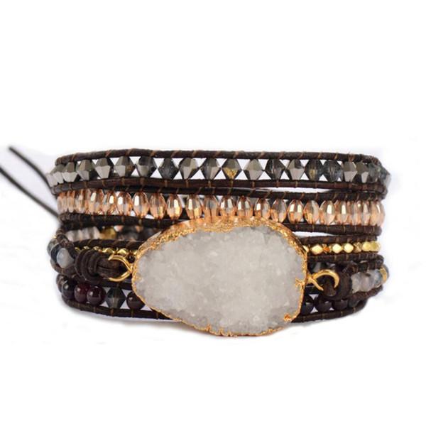 Womens Bracelets Unique Natural Stones Crystals Natural Druzy Charm 5 Layers Leather Wrap Bracelets Fashion Bracelet Dropship