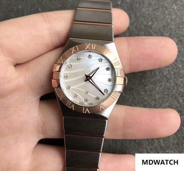 Top Qualität 123.20.27.60.55.006 Diamant Zifferblatt Edelstahl Quarz Damenuhr 27 mm mit Box
