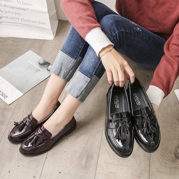 Patent Leather Women Oxfords Fringe Black Wine Red Shoes Woman Round Head Flats Ladies Casual Flat Heels Deep Mouth Women Shoe Size 33-42