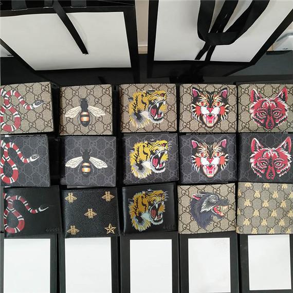 Designer Tote Brieftasche Hochwertigem Leder Luxus Männer Kurze Geldbörsen für Frauen Männer Schlange Biene Tiger Münze Geldbörse Clutch mit Box G031202
