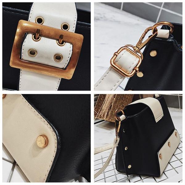 Secchiello moda femminile vintage Borsa 2019 Nuova qualità Cuoio delle donne Designer borsa a spalla rivetto Messenger Bag Crossbody