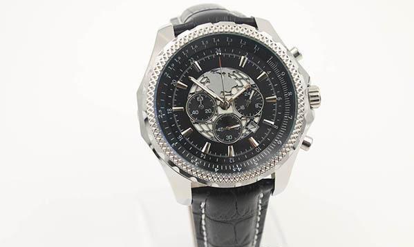 Fashion Old Brand Quartz -Watch Men Chronometer Black Earth Dial Silver Case Black Leather Belt Silver Skeleton Watch Free Shipping HKpost