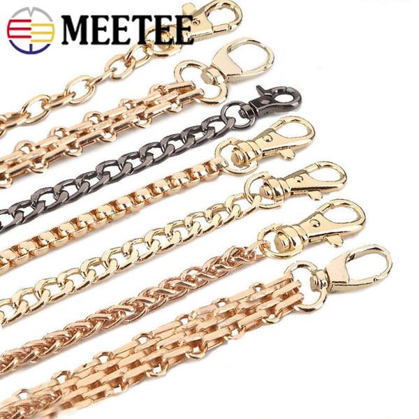 Meetee 100-120cm Bolso Cadenas de metal Monedero Bolsos de hombro Correa Cadena con hebilla Bolsa de repuesto Piezas Accesorios AP2379