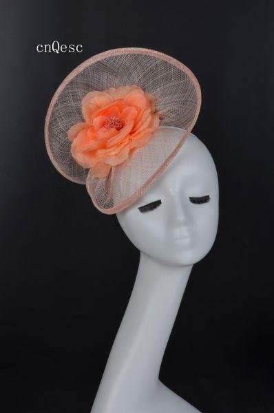 2019 Nude pink Ladies formal dress hat sinamay fascinator Kentucky Derby wedding races bridal shower mother of the bride w/silk flower