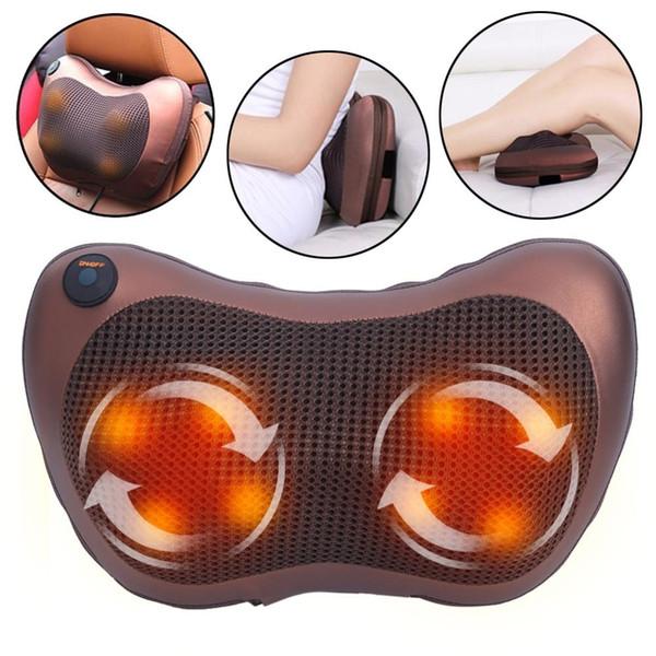 Dropshipping Neck Massager Shoulder Back Massage Body Pillow Elétrica Shiatsu Spa Início / Car Relaxamento Pillow com LED Light Calor LY191203