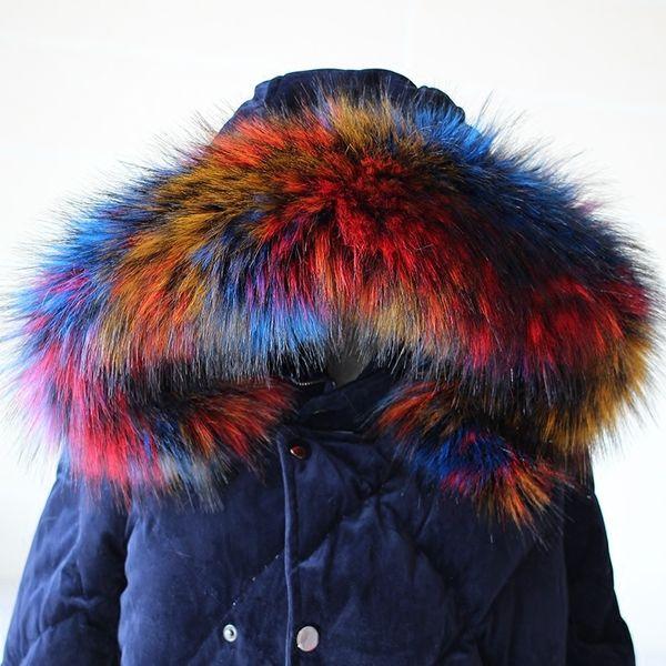 Lady Blinger new faux raccoon fur scarf winter jacket hood fur decor shawl multicolor fake fur scarf winter men coat collar D19011003