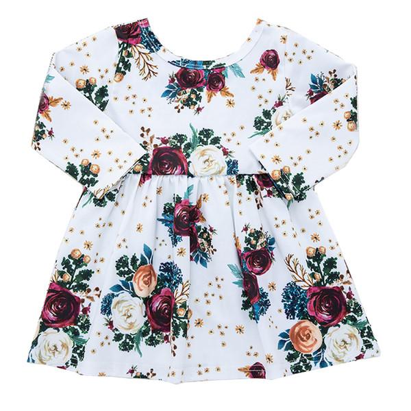 Girl Dress bambino piccola principessa Dress Rose Bouquet stampa del vestito maniche lunghe Roundnecked Fiore gonna a pieghe Beige 18