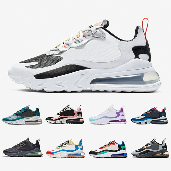 Großhandel Nike Air Max 270 React Shoes BAUHAUS White Blue React Men Running Shoes OPTICAL Triple Black Mens Trainers Breathable Sports Outdoor