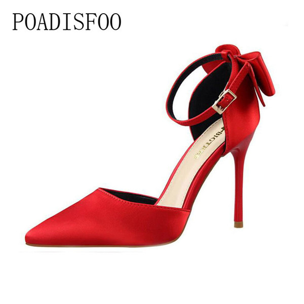 Elbise Ayakkabı POADISFOO 2019 kadın Pompaları Tatlı Yüksek Topuk Sığ Ağız Keskin Ipek Saten Hollow Yay Şerit Sandalet. ZWM-5196-1