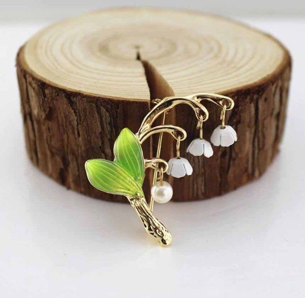 3Pcs New Sweet Fresh And Lovely Green Color Enamel Brooch lily Flower Pin Holiday Gift 2019 Jewelry For Women