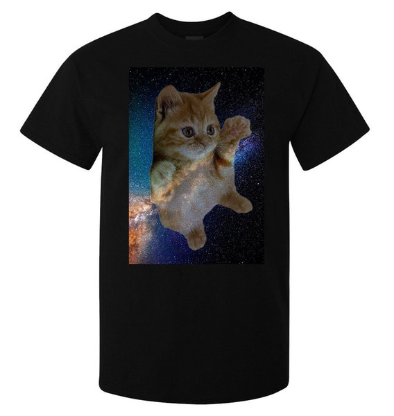 Cosmic Galaxy Feral Cat Kitten Art men's (woman's available) t shirt black top size discout hot new tshirt