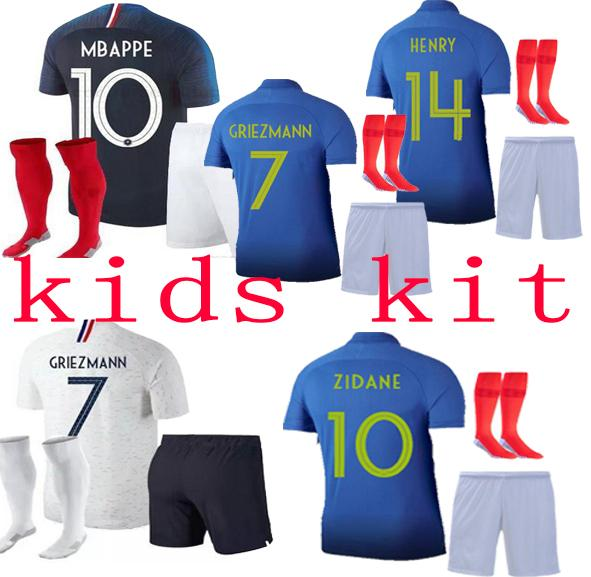 top popular Kids kit 2 Stars France GRIEZMANN MBAPPE POGBA soccer jerseys 2019 2020 shirts MATUIDI KANTE Special Edition 2019 French 2020