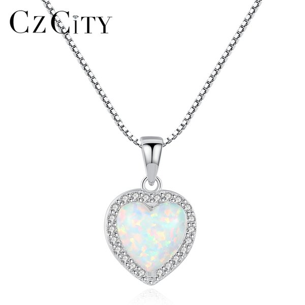 CZCITY 925 Sterling Silver Heart Design Opal Pendant Necklace for Women Charming Silver Chain Pendant Necklace Jewelry Gift