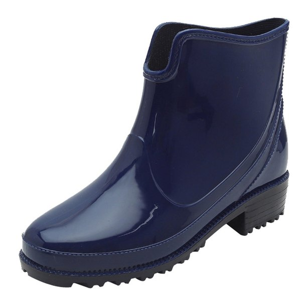 Punk Style Ankle Rain Boots Women Non Slip Rain Boots Outdoor Rubber Water Shoes Chunky Heels Botas Mujer Women'S Tube Jelly Pumps Shoes Shoe Boots