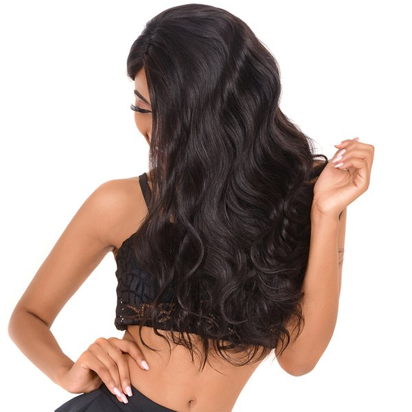 b# Black Lace Front Wigs Long Wavy Synthetic Full Lace Wigs For Black Women Natural Hairline Heat Resistant Free Part 24Inch