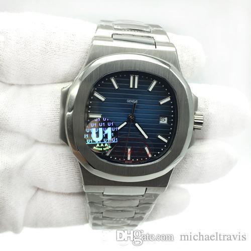 U1 Завод Движение гравированные Мужские часы Nautilus PP автоматические механические из нержавеющей стали Прозрачная задняя крышка синий циферблат Мужские наручные часы
