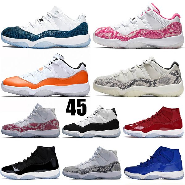XI Pink Snakeskin 11 Low LE Light Bone Orange Mens Basketball Shoes Hight Cut XI Concord 11 Space Jam Bred Womens Sneakers 5-13
