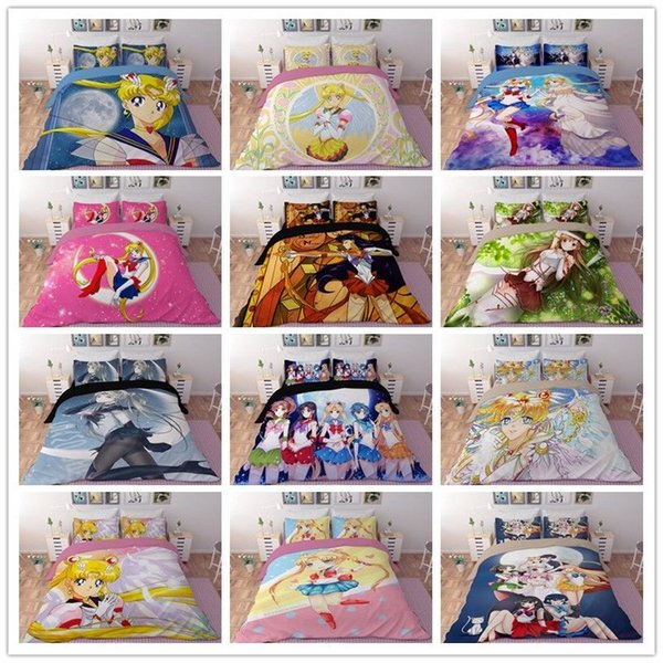 3D Printing Sailor Moon Bedding Set Comforter Duvet Cover Quilt Pillowcases