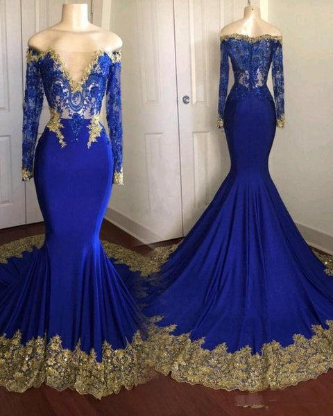 Royal Bule Mermaid Prom Party Dresses With Long Sleeves Gold Lace Applique Sweep Train Vestidos De Novia Evening Occasion Gowns Cheap