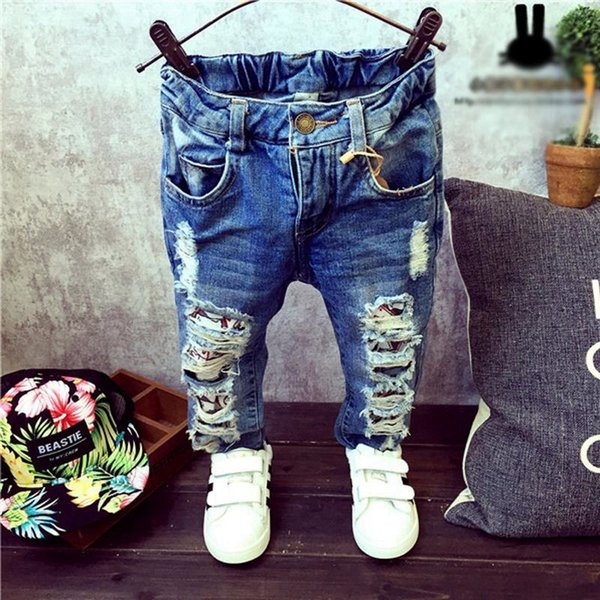 Baby Boys Girls child Jeans Spring Winter Children Broken Hole Pants Trousers Fashion 2-7Yrs Kids Trousers Children Clothing ZJ04