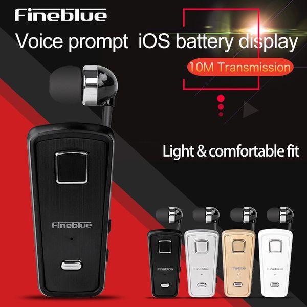 Original FineBlue F980 Retractable Wireless Bluetooth Earphone Handsfree Headset Stereo Headphone Mic Phone Call with retail box