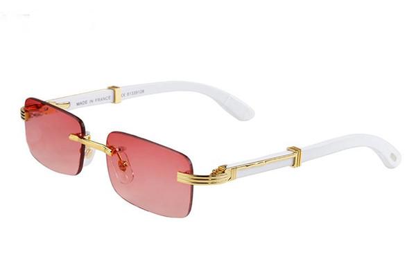 Bestseller-Mode Sonnenbrillen im Jahr 2018, weiße Büffelhorn-Brille, randlose Sonnenbrille, Herren- und Damen-Sonnenbrille kostenlos von Tür zu Tür co