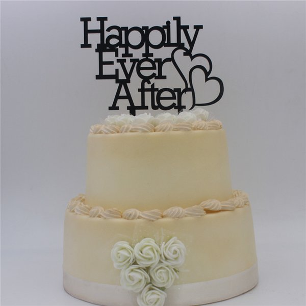 Script Happily Ever After Wedding Cake Topper Anniversary Cupcake Stand