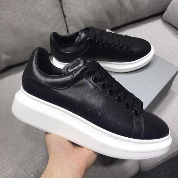 Mens Luxury Brands Designer Casual Shoes Womens Leather Platform Comfotable Flats Sneakers Fashion Couples Lace Up Shoes Pirate Black