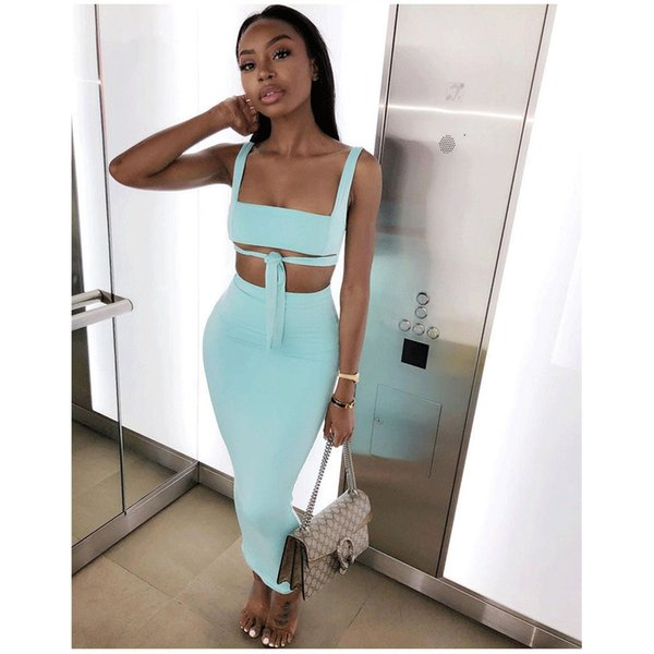 Womens Sexy Dress 2019 Summer New Solid Color Two-Piece Dresses Fashion Tube Top Hip Skirt Nightclub Style Waist Bow Party Dress