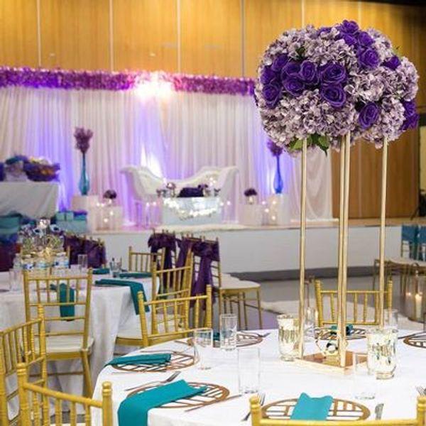 Wedding Flower Vase Gold Column Stand Metal Road Lead Wedding Centerpiece Flower Rack For Event Party Decoration
