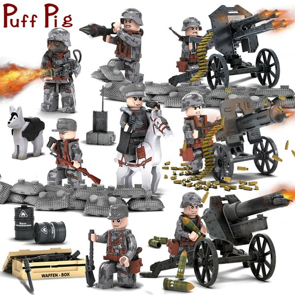 8 pçs / set Figuras Militares Com Armas Blocos de Construção Conjunto Brinquedo Spielzeug Soldados Do Exército Tijolos Brinquedos de Presente Para As Crianças Q190521