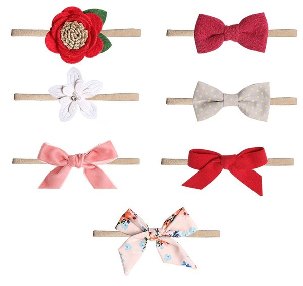 14Pcs Baby Small Flower Bow Headband Elastic Hair Bands Toddler Newborn Photographed Props Headwear Beautiful HuiLin BH80