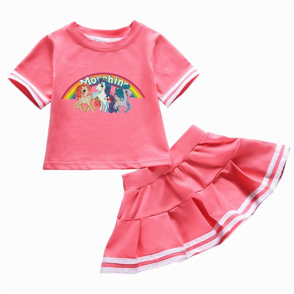 hot new summer children's clothing baby girls tops skirt set kids t shirt skirt for girls 2pcs/suit Children clothes