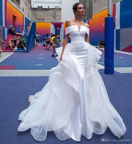 Berta Mermaid Wedding Dresses Detachable Train Off The Shoulder Short Sleeve Pleats Open Back Beach Wedding Dress Bridal Gowns Custom
