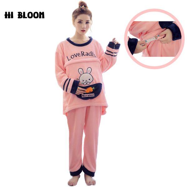 Winter Flannel Maternity Sleepwear Nursing Pajamas Set for Pregnant Women Long Sleeved Cartoon Rabbit hamile pijama Nightgown