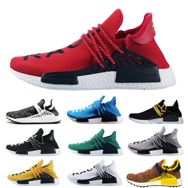 37d743715aa 2018 New NMD Human Race trail Running Shoes Men Women Pharrell Williams NMD  Runner Shoes Yellow noble ink core Black White Red Sneaker