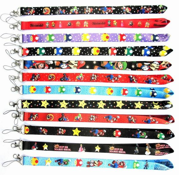 Promotion! New Mix 50pcs Super Mario Phone key chain Neck Strap Keys Camera ID Card Lanyard Free Shipping PO135