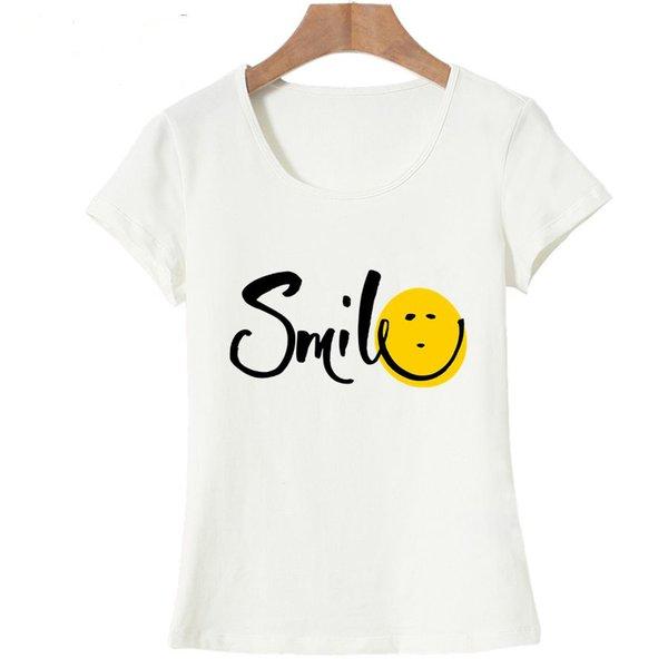 Moda Gülümseme Eğlenceli Baskı Yaz T gömlek Kadın Vogue Kısa Kollu T-Shirt Ucuz Kadın Tops