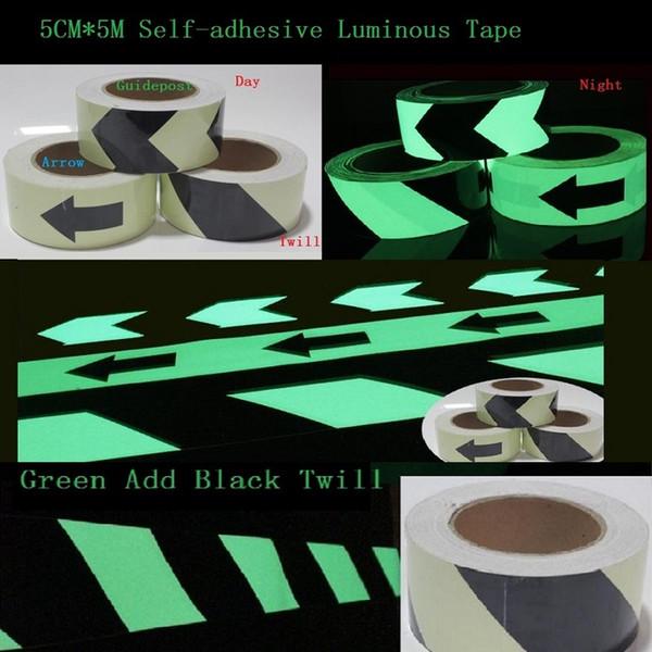 top popular 5cm*5M Road Traffic Guidepost Sign Storage Light Luminescent Film Dark Night Glowing Warning Stage Luminous Self-adhesive PET Tape 2021