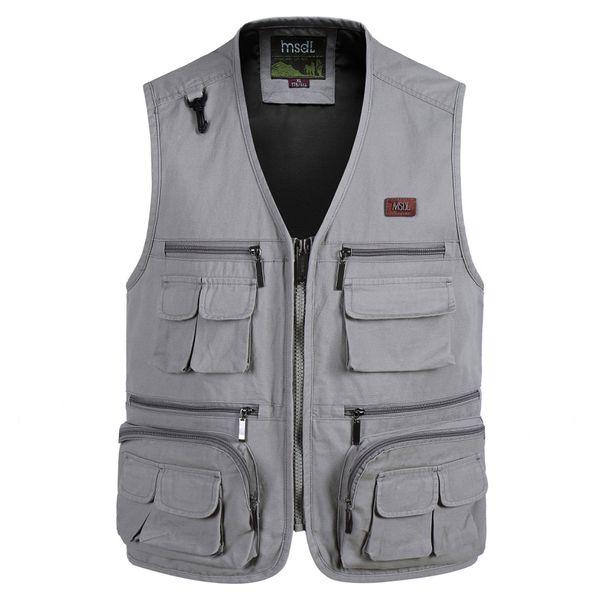 2019 new men casual autumn winter sleeveless pgraph vest mens multi pocket solid color cotton v-collar waistcoat 4xl