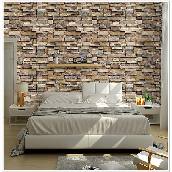 Vintage-Wand-Aufkleber-Wand-Papier PVC Selbstklebende Wasserdicht graue Ziegelstein Tapete Rolle Wohnzimmer Wohnkultur Papel De Parede 3D-Bilder