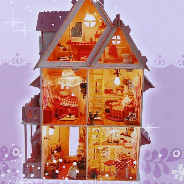 Iiecreate Lovely DIY Handmade Assembled Villa 42cm/16.5 Inch Height House Model Princess Romantic For Girl's Birthday Gift Toys