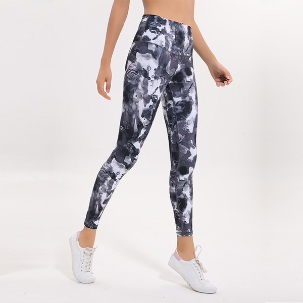 top popular LU-15 Sexy High Rise Women Yoga Pants Outfits Thicken Material Elastic Leggings Spandex Printed Clothing Running 2019