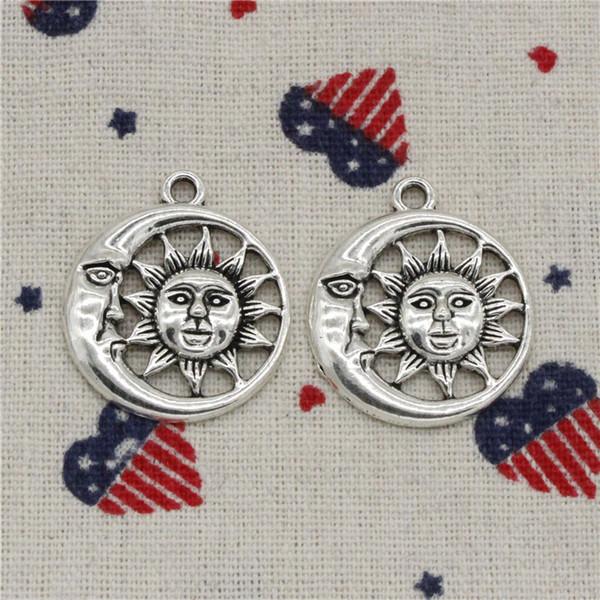 Wholesale- 61pcs Charms sun moon 26mm Pendant,Tibetan Silver Pendant,For DIY Necklace & Bracelets Jewelry Accessories