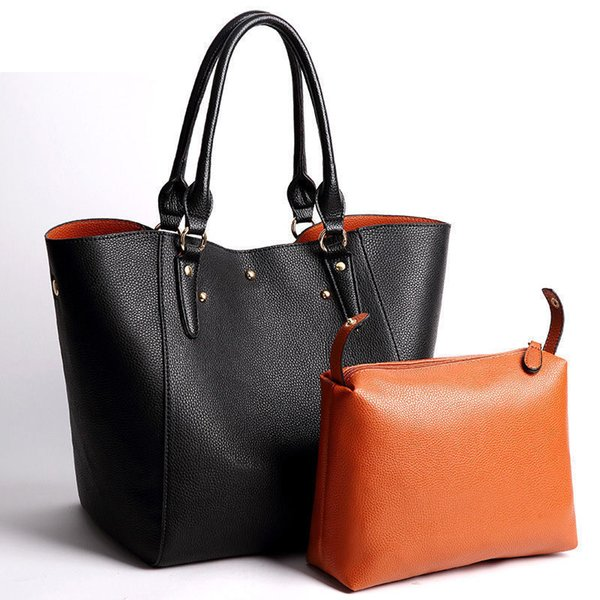 2019 good quality Brand Women Large Handbags Solid Leather Laptop Shoulder Bag Young Mom Top-handle Gifts Big Tote Wristle Bags