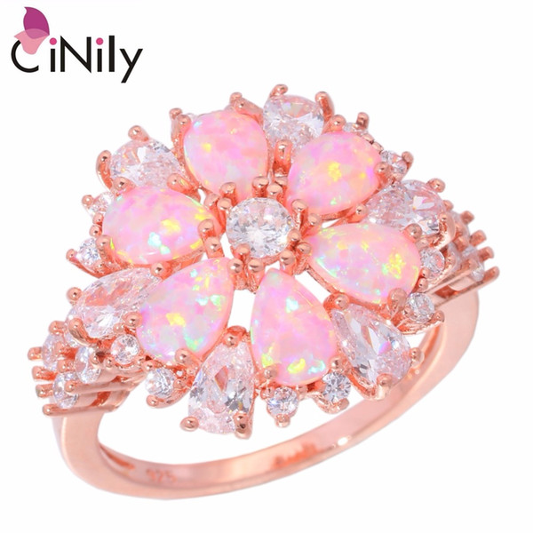 CiNily Created Pink Fire Opal White Cubic Zirconia Rose Gold Color Wholesale Hot Sell for Women Jewelry Ring Size 5-13 OJ6268
