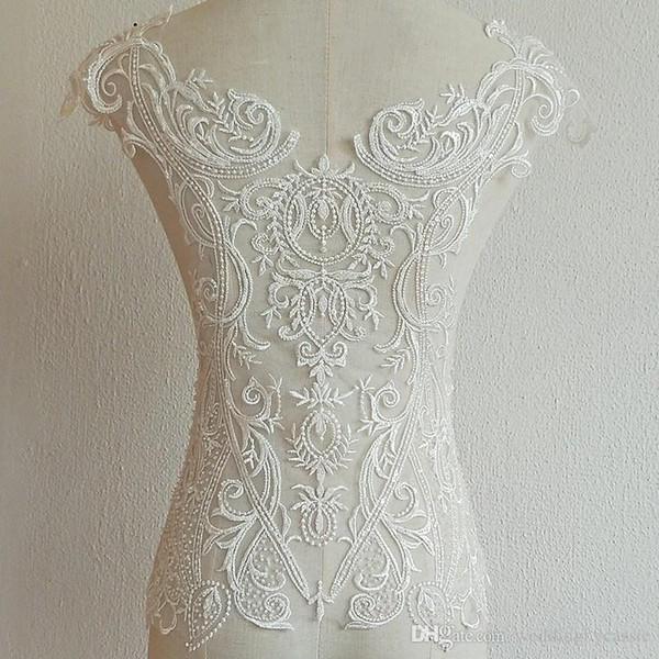 Flor blanca francesa, apliques de encaje hechos a mano con cuentas para el vestido de novia, materiales de diseño, accesorios de vestuario XW006