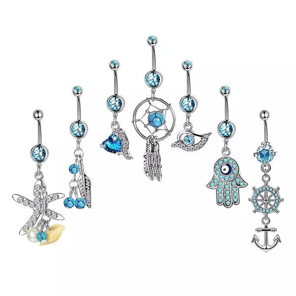 7pcs / set bijoux Dreamcatcher 316L en acier inoxydable barres de nombril en argent anneau de nombril nombril bijoux piercing