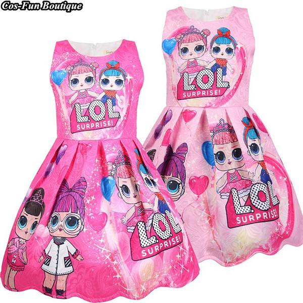 Pink Girls Dress Primavera y verano Vacaciones Ropa para niños Sin mangas Baby Dress Cartoon Big Head Doll Princess